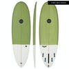 Maluku Flying Frog Eco 5 Fin Surfboard - Green White