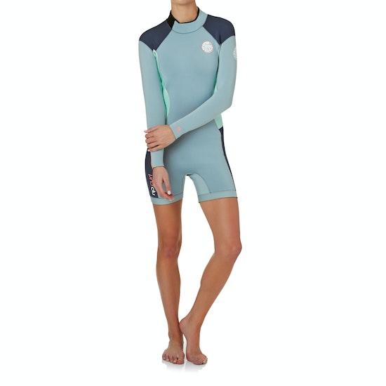 Rip Curl Dawn Patrol 2mm Back Zip Long Sleeve Shorty Ladies Wetsuit