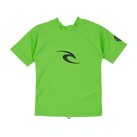 Rip Curl Groms Corpo Short Sleeve Boys Rash Vest - Lime
