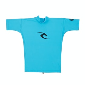 Rip Curl Junior Corpo Short Sleeve Boys Rash Vest - Blue