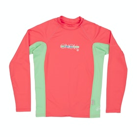 Rash Vest Girls O'Neill Skins Long sleeve Crew - Coral/ Mint/ Coral