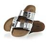 Birkenstock Arizona Leather Soft Footbed Narrow Sandalen - Metallic Silver