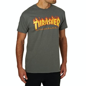 Thrasher Flame Logo Short Sleeve T-Shirt - Charcoal