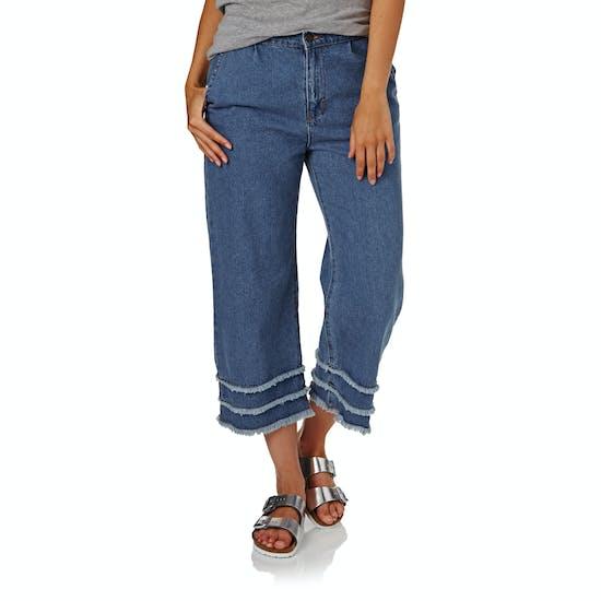 The Hidden Way Ari Denim Fray Culottes Womens Jeans