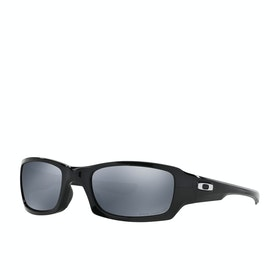 Oakley Fives Squared Polarised Sunglasses - Polished Black ~ Black Iridium