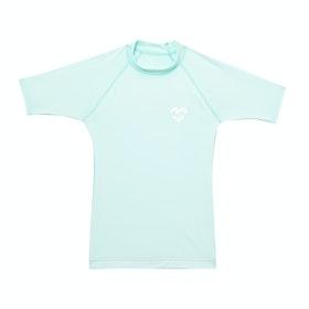 Billabong Heart Logo Short Sleeve Kids Rash Vest - Aloe