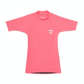 Billabong Heart Logo Short Sleeve Kids Rash Vest - Neon Coral