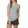 O'Neill Stripe Script Womens Short Sleeve T-Shirt - White AOP Blue