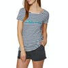 T-Shirt à Manche Courte Femme O'Neill Stripe Script - White AOP Blue