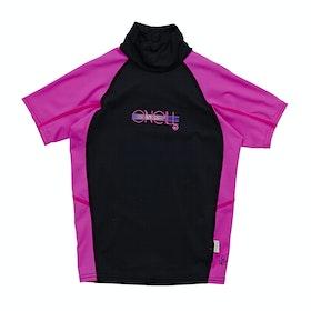Rash Vest Girls O'Neill Skins Short Sleeve Turtleneck - Black Berry