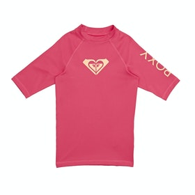 Rash Vest Girls Roxy Whole Hearted Short Sleeve - Rouge Red