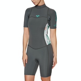 Roxy Syncro 2mm 2 Back Zip Shorty Womens Wetsuit - Ash Pistaccio