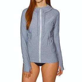 O'Neill Hybrid Long Sleeve Zip Sun Hoody Womens Surf T-Shirt - Mist
