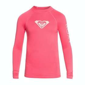 Roxy Whole Hearted Long Sleeve Girls Rash Vest - Rouge Red