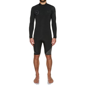 Quiksilver Syncro 2mm 2018 Back Zip Long Sleeve Shorty Wetsuit - Black Jet
