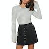T-Shirt à Manche Longue Femme SWELL Fleur Flare - White/black Stripe