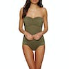 Seafolly Quilted Bandeau Maillot Womens Swimsuit - Dark Olive