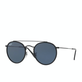 Ray-Ban Round Double Bridge Womens Sunglasses - Black ~ Grey