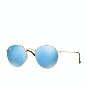 Ray-Ban Round Metal Sunglasses - Shiny Gold ~ Grey Flash