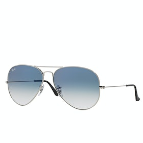 Ray-Ban Aviator Large Metal Sunglasses - Silver ~ Crystal Gradient Light Blue