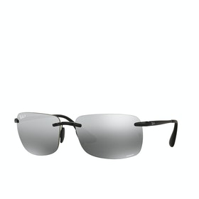 Ray-Ban RB4255 Polarised Sunglasses - Shiny Black ~ Grey Mirror Silver
