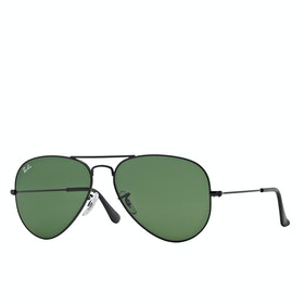 Ray-Ban Aviator Large Metal Sunglasses - Black ~ Grey Green