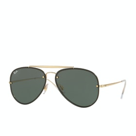 Ray-Ban Blaze Aviator Womens Sunglasses - Gold ~ Dark Green