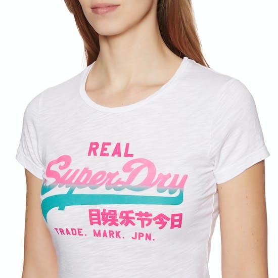T-Shirt de Manga Curta Senhora Superdry Vintage Logo Ombre Entry