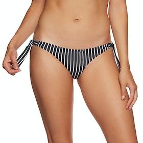 SWELL Vintage Tie Side Brief Bikini Bottoms - White/black Stripe