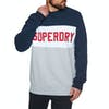 Superdry Academy Colour Block Crew Trui - Navy Optic Grey Marl