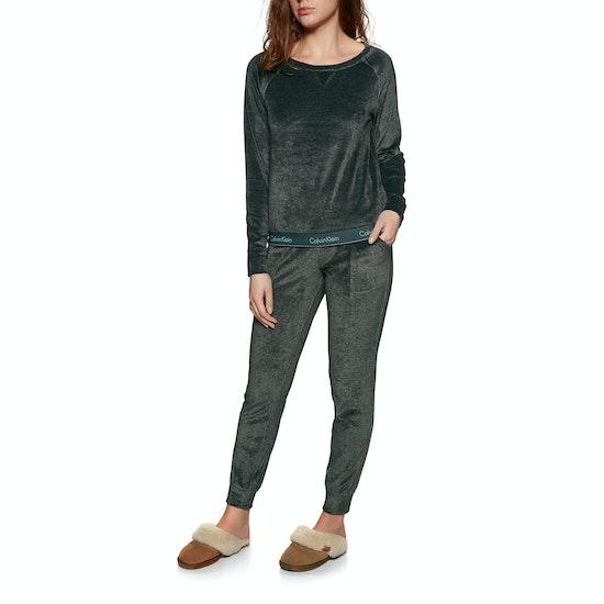 Calvin Klein Modern Cotton Velour Long Sleeve Womens セーター