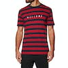 Welcome Scrawl Embroidered Striped Knit Short Sleeve T-Shirt - Navy Red