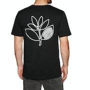 Magenta Plant Outline T-Shirt Korte Mouwen