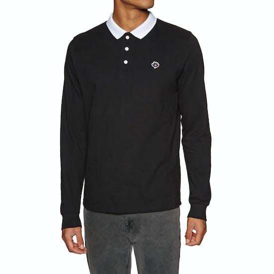 Magenta Pique Long Sleeve Poloshirt