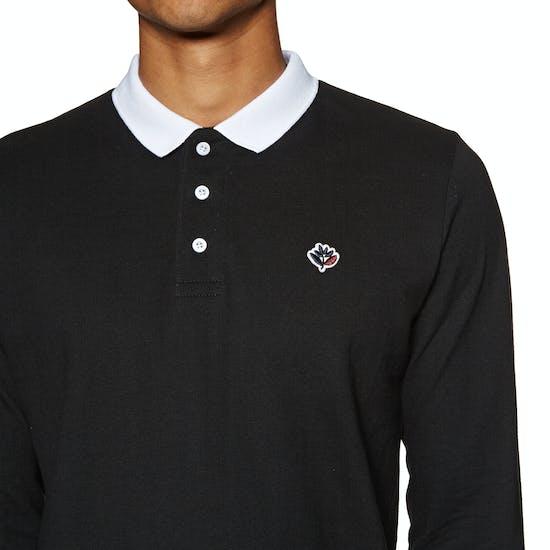 Magenta Pique Long Sleeve Polo Shirt