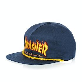Thrasher Flame Rope Snapback Cap - Navy