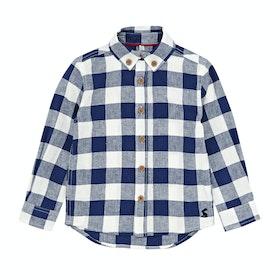 Joules Sark Linen Checked Boys Shirt - Dark BlueGingham