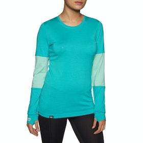 Mons Royale Cornice Long Sleeve Womens Base Layer Top - Tropicana/peppermint