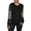 Mons Royale Cornice Long Sleeve Damen Funktionsunterwäsche Oberteil - Black/thick Stripe/thin Stripe