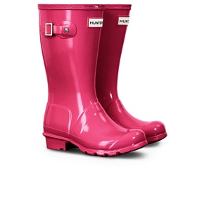 Hunter Original Gloss Kids Wellies - Bright Pink