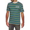 T-Shirt à Manche Courte Welcome Surf Stripe - Black White