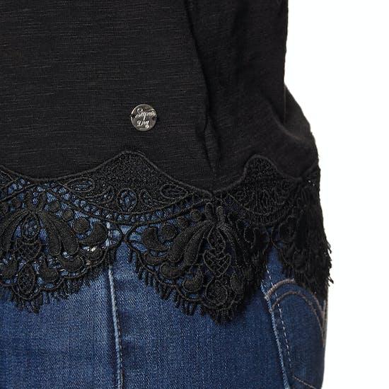 T-Shirt à Manche Courte Femme Superdry Morocco Lace Hem