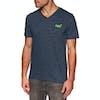 T-Shirt a Manica Corta Superdry Orange Label Vintage Embroidery V Neck - Classic Blue Feeder