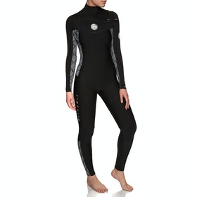 Rip Curl Dawn Patrol 3/2mm Chest Zip Wetsuit - Black White