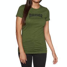 Thrasher Skate Mag Logo Womens Short Sleeve T-Shirt - Olive