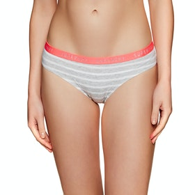 Superdry College Brief Double Pack Womens Knickers - Coral Tropical Grey Marl Stripe