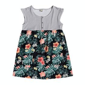 Roxy Hey Mama Girls Dress - Anthracite Hibiscus Twist