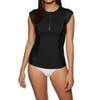 SWELL Short Sleeve 1/2 Zip Womens Rash Vest - Black
