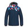 Quiksilver Mission Block Kids Snow Jacket - Dress Blue Check Atomic