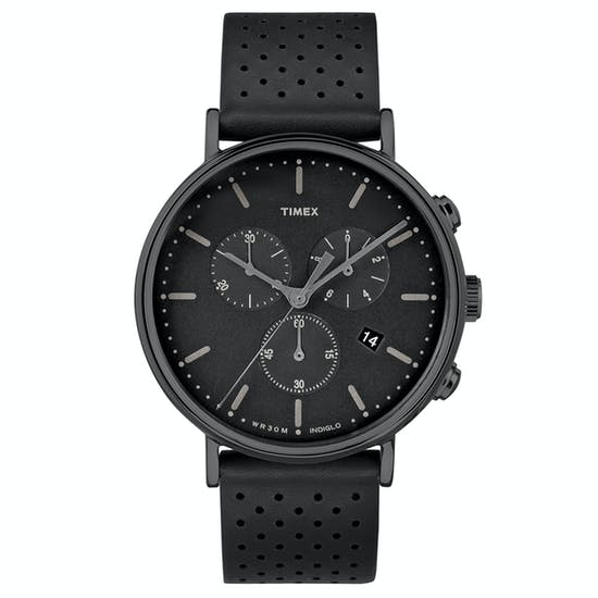 Montre Timex Fairfield Chrono Black Leather Strap/ Black Dial